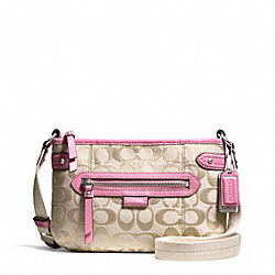 COACH F49452 Daisy Outline Signature Metallic Swingpack SILVER/LIGHT KHAKI/PINK