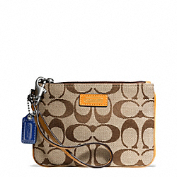 COACH F49471 Park Signature Small Wristlet BRASS/KHAKI/ORANGE SPICE