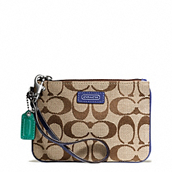 COACH F49471 Park Signature Small Wristlet SILVER/KHAKI/FRENCH BLUE