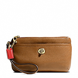 COACH F49472 Park Leather Medium Wristlet BRASS/BRITISH TAN