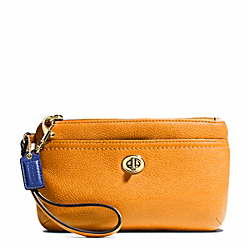 COACH F49472 Park Leather Medium Wristlet BRASS/ORANGE SPICE