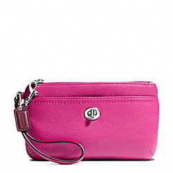 COACH F49472 Park Leather Medium Wristlet SILVER/BRIGHT MAGENTA