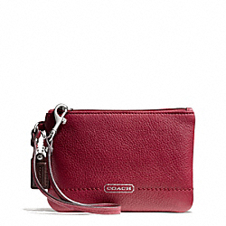 COACH F49475 Park Leather Small Wristlet SILVER/BLACK CHERRY