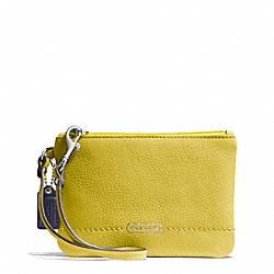 COACH F49475 Park Leather Small Wristlet SILVER/CHARTREUSE