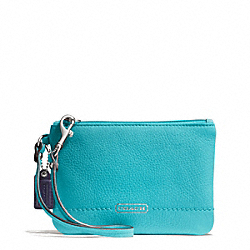 COACH F49475 Park Leather Small Wristlet SILVER/TURQUOISE
