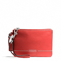 COACH F49475 Park Leather Small Wristlet SILVER/VERMILLION