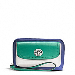 COACH F49486 Park Colorblock Leather Universal Zip Wallet SILVER/FRENCH BLUE MULTI