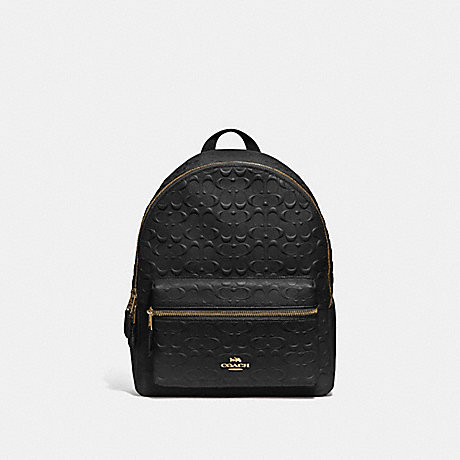 COACH F49498 MEDIUM CHARLIE BACKPACK IN SIGNATURE LEATHER<br>蔻驰中查理背包在签名皮革 黑/仿金