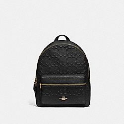 MEDIUM CHARLIE BACKPACK IN SIGNATURE LEATHER - F49498 - BLACK/IMITATION GOLD