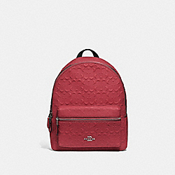MEDIUM CHARLIE BACKPACK IN SIGNATURE LEATHER - F49498 - WASHED RED/SILVER