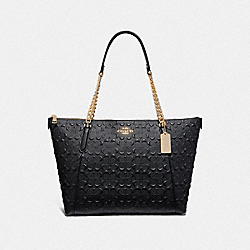 AVA CHAIN TOTE IN SIGNATURE LEATHER - F49499 - BLACK/IMITATION GOLD