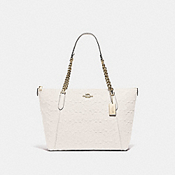 AVA CHAIN TOTE IN SIGNATURE LEATHER - F49499 - CHALK/GOLD
