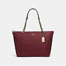 AVA CHAIN TOTE IN SIGNATURE LEATHER - F49499 - WINE/IMITATION GOLD