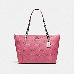 COACH F49499 Ava Chain Tote In Signature Leather STRAWBERRY/SILVER