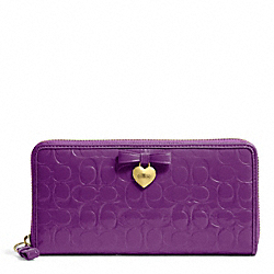 COACH F49508 Embossed Liquid Gloss Accordion Zip BRASS/IRIS