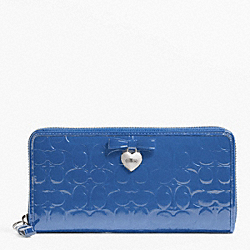 COACH F49508 Embossed Liquid Gloss Accordion Zip SILVER/MOONLIGHT BLUE