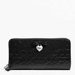COACH F49508 Embossed Liquid Gloss Accordion Zip SILVER/BLACK