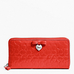 COACH F49508 Embossed Liquid Gloss Accordion Zip SILVER/VERMILLION