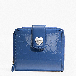 COACH F49510 Embossed Liquid Gloss Slim Medium Wallet SILVER/MOONLIGHT BLUE