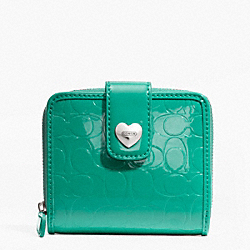 COACH F49510 Embossed Liquid Gloss Slim Medium Wallet SILVER/BRIGHT JADE