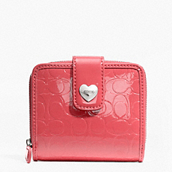 COACH F49510 Embossed Liquid Gloss Slim Medium Wallet SILVER/CORAL