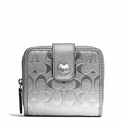 COACH F49510 Embossed Liquid Gloss Slim Medium Wallet SILVER/SILVER