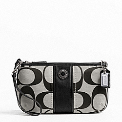 COACH F49518 Signature Stripe Large Wristlet SILVER/BLACK/WHITE/BLACK