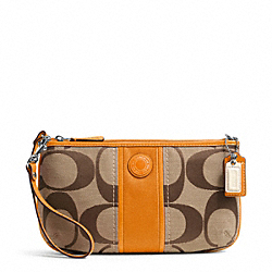 COACH F49518 Signature Stripe Large Wristlet SILVER/KHAKI/ORANGE SPICE