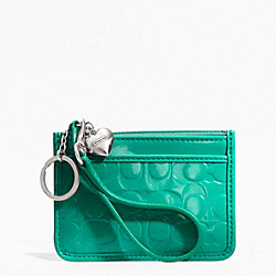 COACH F49535 Embossed Liquid Gloss Id Skinny SILVER/BRIGHT JADE