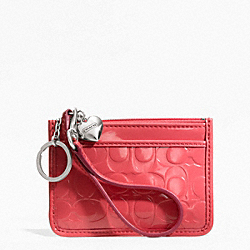 COACH F49535 Embossed Liquid Gloss Id Skinny SILVER/CORAL