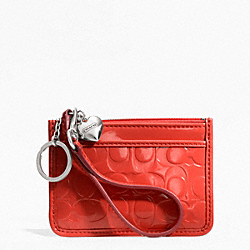 COACH F49535 Embossed Liquid Gloss Id Skinny SILVER/VERMILLION