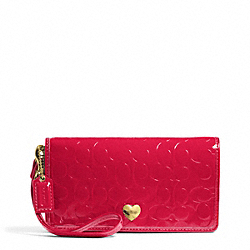COACH F49540 Embossed Liquid Gloss Demi Clutch BRASS/CORAL RED