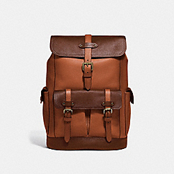 HUDSON BACKPACK IN COLORBLOCK - F49543 - DARK BROWN MULTI/ANTIQUE BRASS