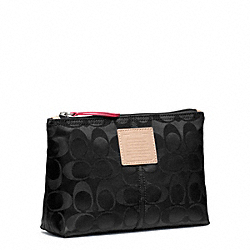 COACH F49544 Legacy Weekend Nylon Medium Cosmetic Case SILVER/BLACK