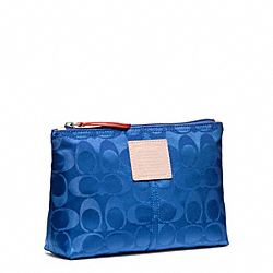 COACH F49544 Legacy Weekend Nylon Medium Cosmetic Case SILVER/COBALT