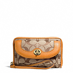 COACH F49550 Park Signature Universal Zip Wallet BRASS/KHAKI/ORANGE SPICE