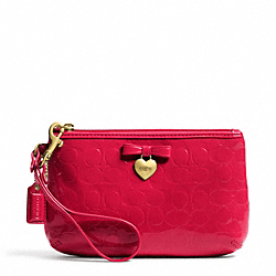 COACH F49562 Embossed Liquid Gloss Medium Wristlet BRASS/CORAL RED