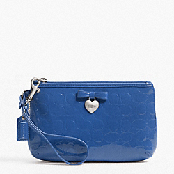 COACH F49562 Embossed Liquid Gloss Medium Wristlet SILVER/MOONLIGHT BLUE