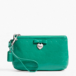 COACH F49562 Embossed Liquid Gloss Medium Wristlet SILVER/BRIGHT JADE