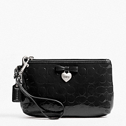 COACH F49562 Embossed Liquid Gloss Medium Wristlet SILVER/BLACK