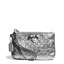 COACH F49562 Embossed Liquid Gloss Medium Wristlet SILVER/SILVER