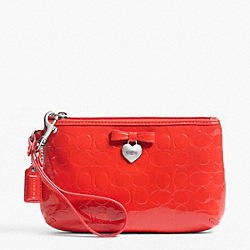 COACH F49562 Embossed Liquid Gloss Medium Wristlet SILVER/VERMILLION