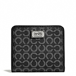 COACH F49589 Madison Small Wallet In Op Art Needlepoint Fabric SILVER/BLACK