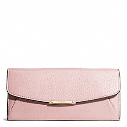MADISON LEATHER SLIM ENVELOPE WALLET - f49595 - LIGHT GOLD/NEUTRAL PINK