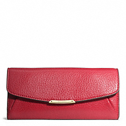 MADISON SLIM ENVELOPE WALLET IN LEATHER - f49595 - LIGHT GOLD/SCARLET