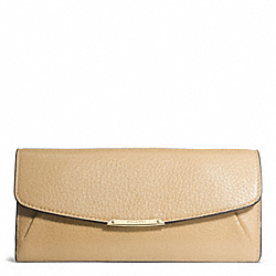 MADISON LEATHER SLIM ENVELOPE WALLET - f49595 - LIGHT GOLD/TAN