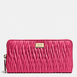 COACH F49609 Accordion Zip Wallet In Gathered Twist Leather IMITATION GOLD/DAHLIA