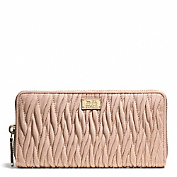 MADISON GATHERED TWIST ACCORDION ZIP WALLET - f49609 - LIGHT GOLD/PEACH ROSE