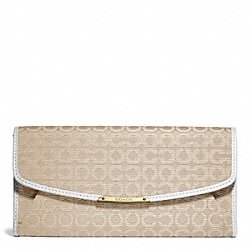 MADISON NEEDLEPOINT OP ART SLIM ENVELOPE WALLET - f49611 - LIGHT GOLD/LIGHT GOLDGHT KHAKI/WHITE