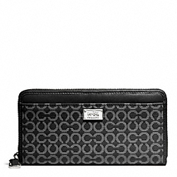 COACH F49614 Madison Needlepoint Op Art Fabric Accordion Wallet SILVER/BLACK